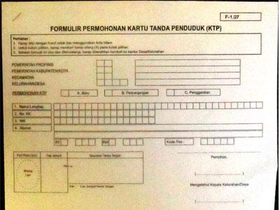 formulir buat KTP