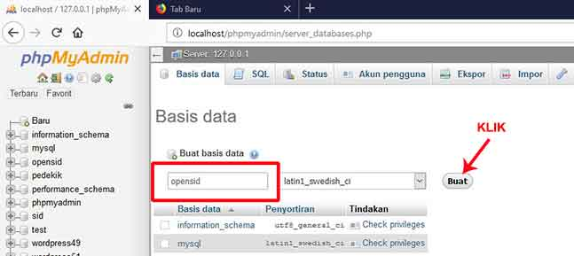 membuat database opensid